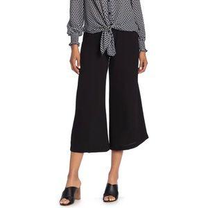 Max Studio High Waist Crepe Culotte Pants Black